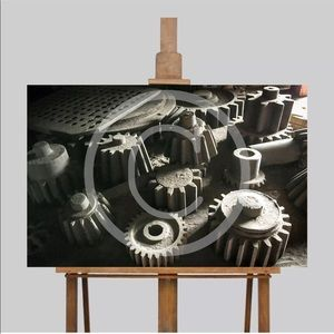 Wall Art Canvas Print Wood Gears Tools Man Cave